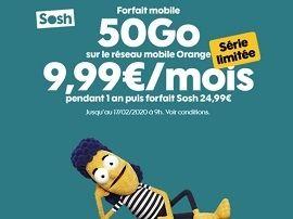 Orange / Sosh : le forfait 50 Go passe à moins de 10 euros pendant 12 mois