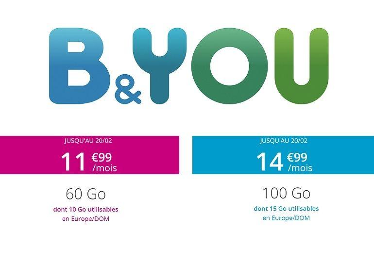 Forfait : B&You riposte à RED by SFR avec une offre 60 Go et Internet illimité WE