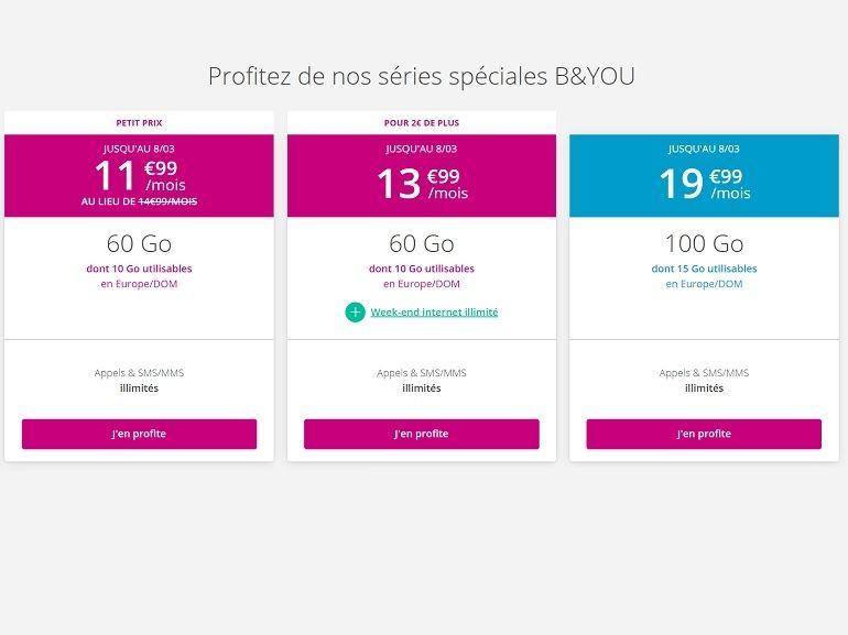 Les offres B&You sont de retour ! Le forfait sans engagement 60 Go passe à 11,99€ / mois