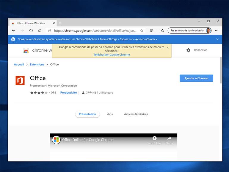 Chrome vs Edge : Google tente de récupérer les utilisateurs de Edge sur son web store