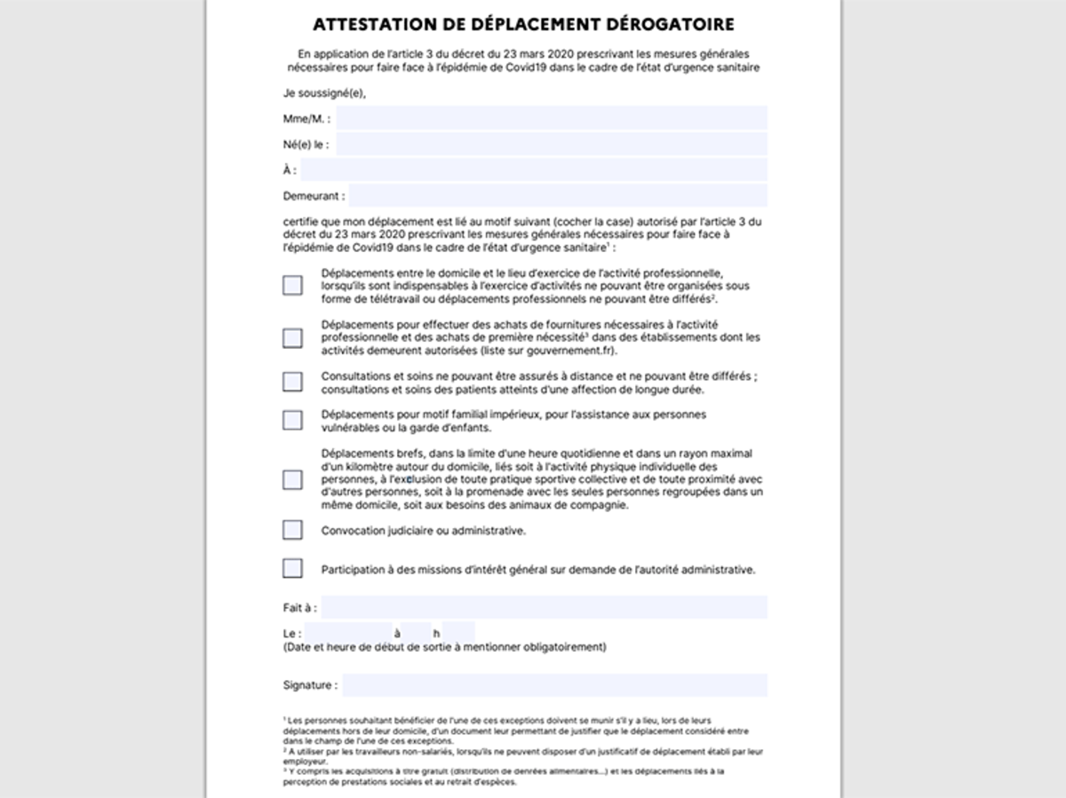 Telechargez L Attestation De Deplacement Officielle Ou La Version Simplifiee Cnet France