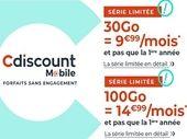 Forfait mobile : ce qu'il faut savoir sur les offres Cdiscount 30 et 100 Go à 9.99€ et 14.99€