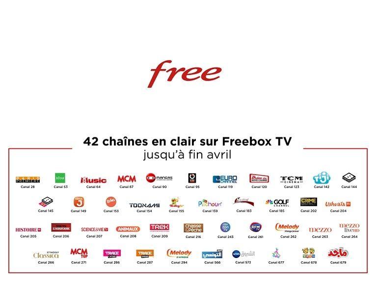 Confinement : Free prolonge (et étend) son offre, 42 chaînes en clair jusqu'au 30 avril pour les abonnés