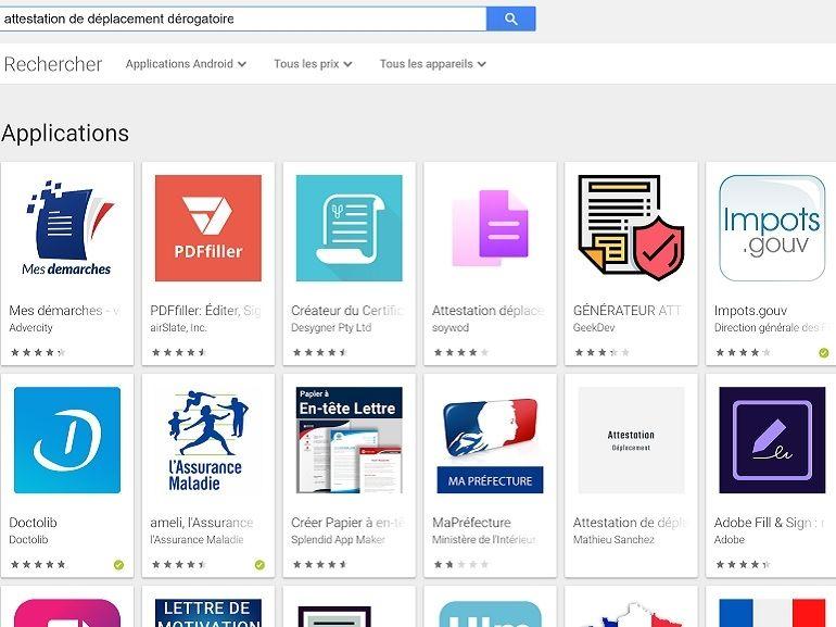 Google fait le tri dans le Play Store et supprime les générateurs d'attestation de déplacement