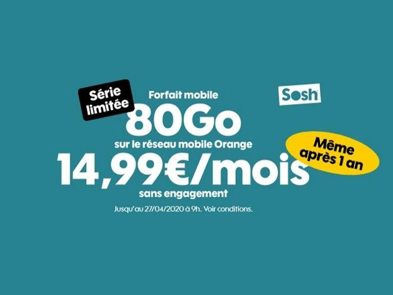 Bon plan forfait : que vaut l'offre Sosh 80 Go à 14.99 euros ?