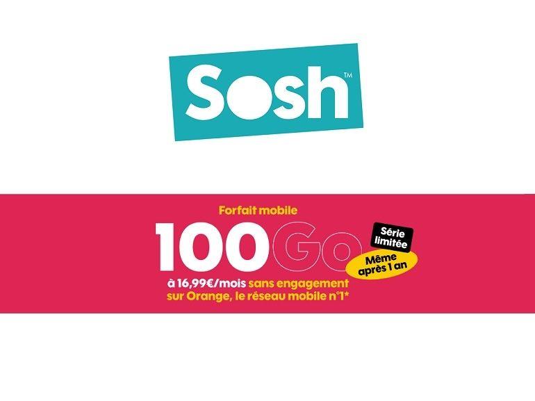 Bon plan : le forfait Sosh 100 Go est à 16,99€ par mois, sans limite de temps