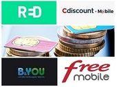 Forfait mobile : 60 Go à partir de 4,99 euros, le grand match entre RED, B&You, Free et Cdiscount