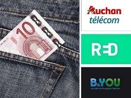 Forfait mobile 100 Go à partir de 10€ : qui choisir entre RED, B&You et Auchan Télécom ?