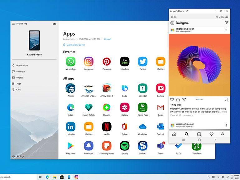 Windows 10 : avec un smartphone Samsung utilisez les applis Android depuis le PC