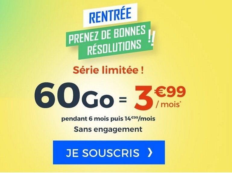 Cdiscount se lâche pour la rentrée avec un forfait mobile 60 Go à 3,99€ / mois