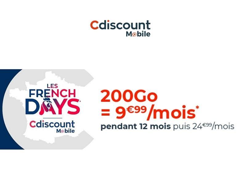 French Days : un forfait Cdiscount Mobile 200 Go à seulement 9,99 € / mois