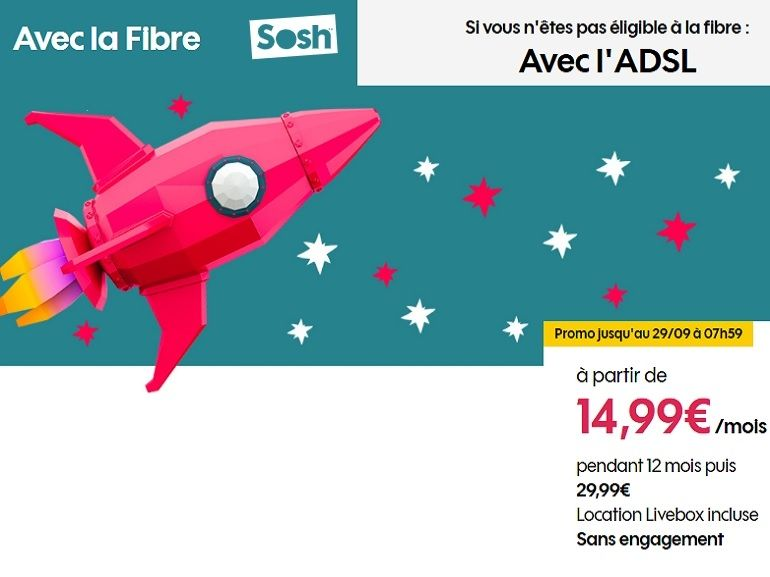 Sosh relance son offre fibre à 14.99 euros la première année