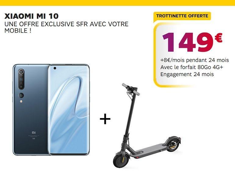 Offre exclusive SFR : une trottinette Mi Electric Scooter Essential offerte pour l'achat d'un Xiaomi Mi 10