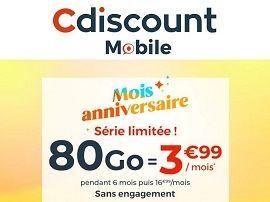 Bon plan : Cdiscount lance un forfait 80 Go à 3,99€ / mois