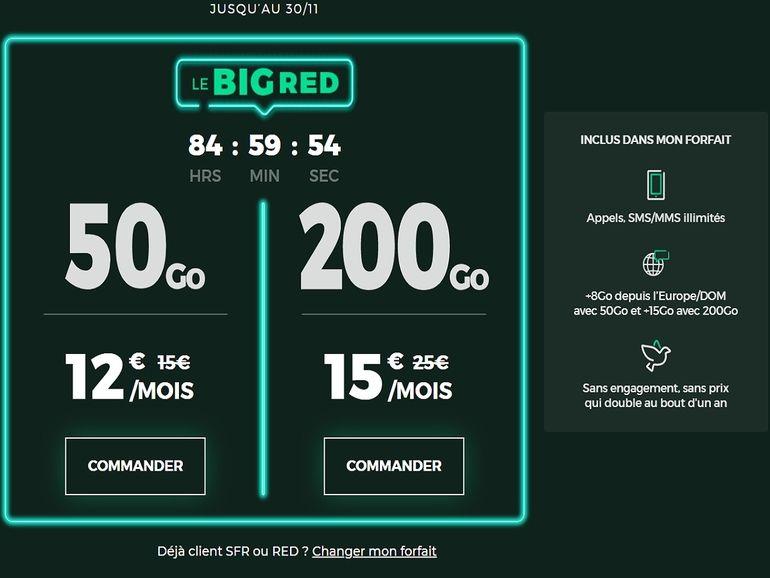 Bon plan : 200 Go pour 15€ ou 50 Go pour 12€, le forfait BIG RED de SFR est de retour !