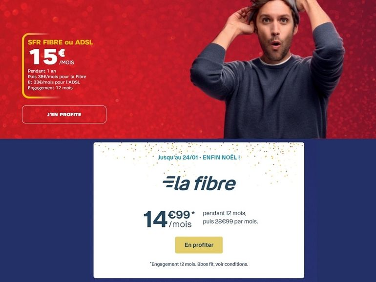 Box fibre à 15 euros : SFR ou Bouygues Telecom, quel forfait internet choisir ?