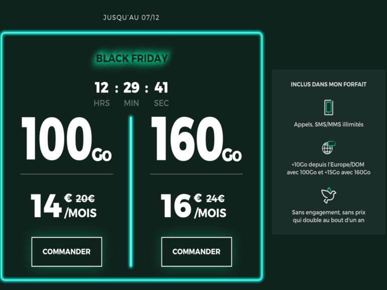 Black Friday : 100 et 160 Go à partir de 14€, dernières heures pour profiter des forfaits RED