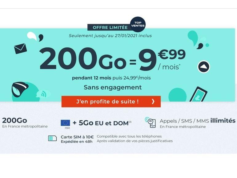 Soldes 2021 : Cdiscount Mobile relance son forfait 200 Go à 9,99€ par mois
