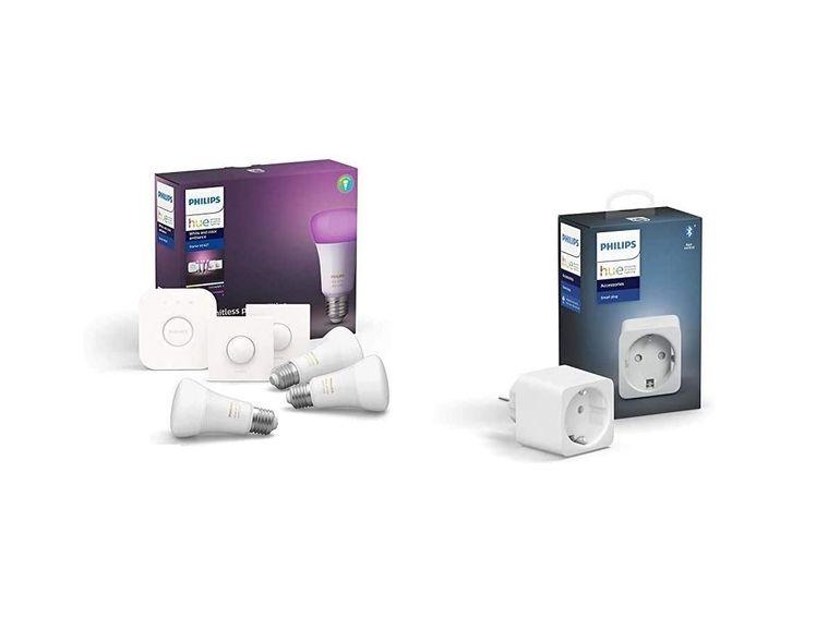 Le kit de démarrage Philips HUE avec 3 ampoules + pont de connexion + prise connectée à 159,90€ sur Amazon