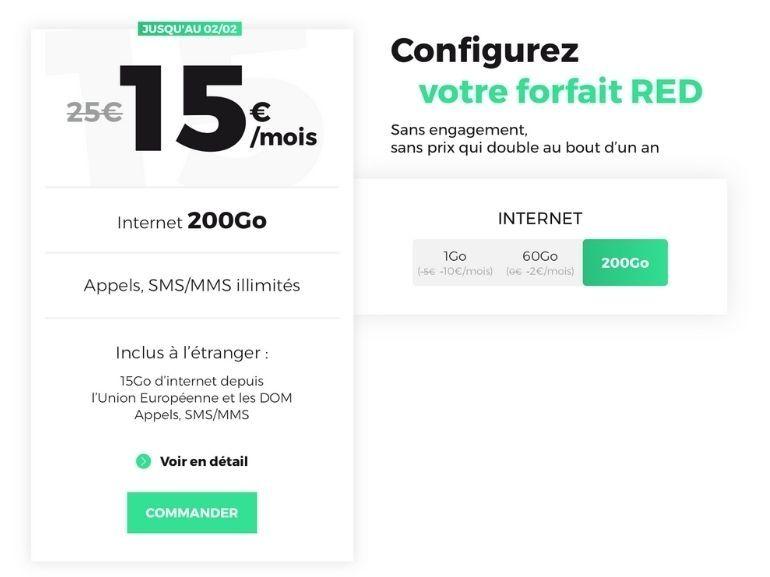 RED by SFR prolonge son forfait 200 Go à 15€/mois
