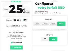 Forfait 5G : RED by SFR relance son offre à 25€ avec 130 Go d'internet