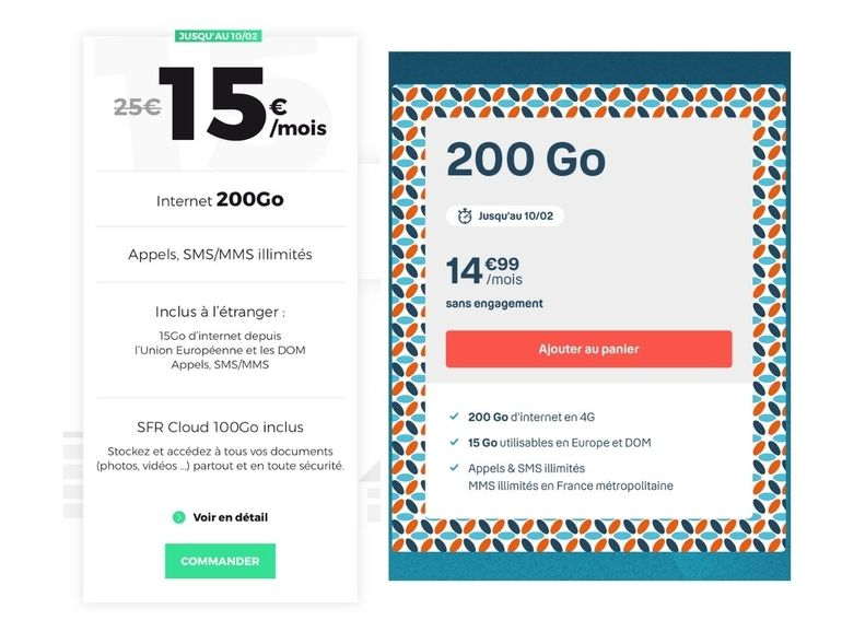 Forfait 200 Go à 15€ : le match entre RED by SFR et B&You