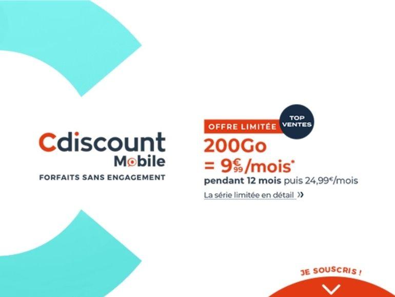 Cdiscount Mobile : le forfait 200 Go à 9,99 euros par mois est de retour