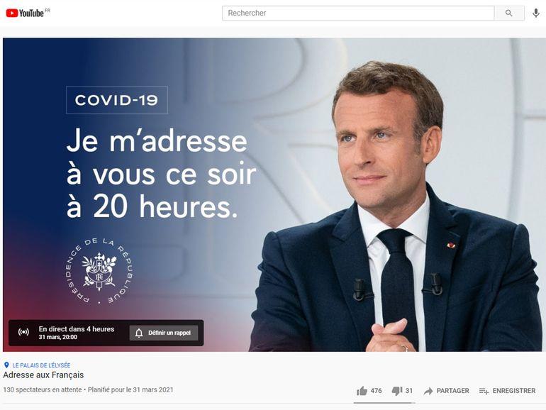 Comment voir l'allocution d'Emmanuel Macron sur YouTube ou Internet ce 31 mars à 20h