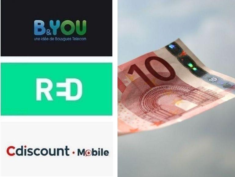 Forfait mobile jusqu'à 200 Go à partir de 10 euros : RED, B&You ou Cdiscount, le match