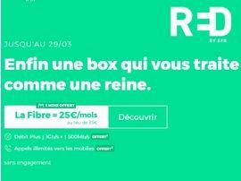 La fibre 1 Gb/s à 25 euros avec un mois offert chez RED