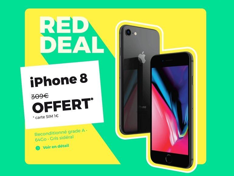 RED by SFR : un iPhone 8 reconditionné offert avec le forfait 100 Go à 15€