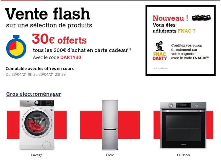 En plus des ventes flash Fnac / Darty, il est possible d'appliquer des codes promo