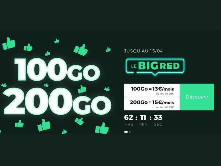 Forfait mobile et box internet : 200 Go pour 15€, 100 Go pour 13€ et deux mois de fibre offerts chez RED by SFR