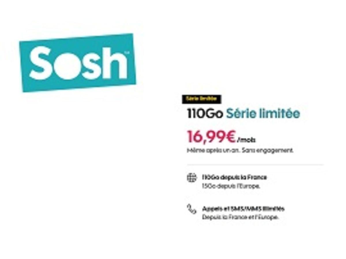 Sosh : le forfait série limitée 110 Go, sans engagement, est à 16,99 euros par mois