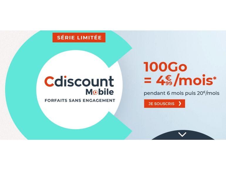 Cdiscount Mobile lance une série limitée 100 Go à seulement 4,99€/mois (pendant 6 mois)