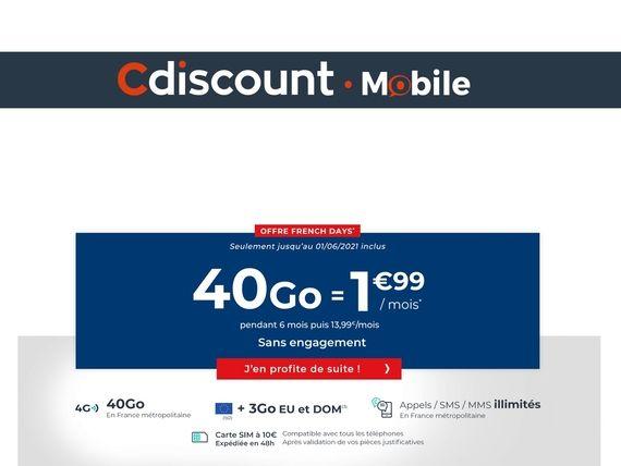 French Days : un forfait 40 Go pour 1,99 euro pendant 6 mois avec Cdiscount Mobile