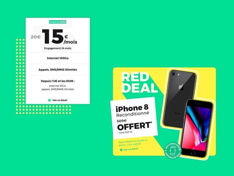 Le forfait RED by SFR 100 Go avec un iPhone reconditionné offert est à 15€/mois