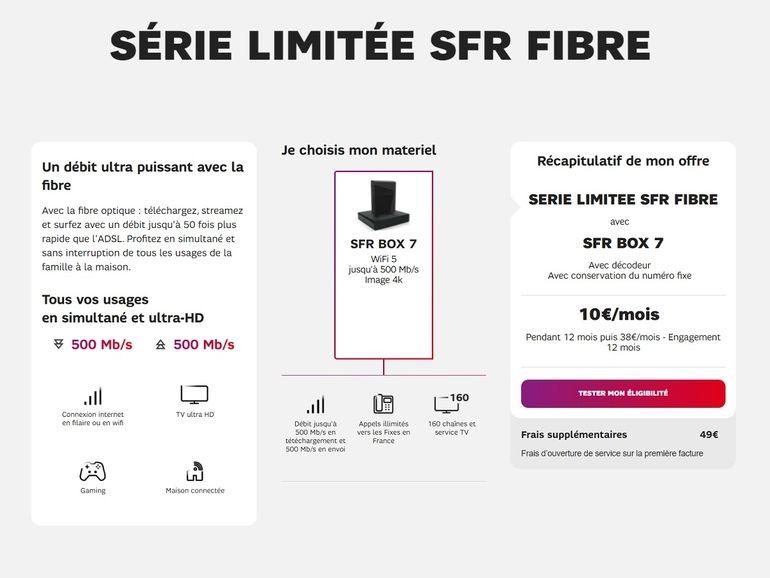 SFR s'aligne sur Bouygues Telecom avec une offre fibre à 10€ / mois pendant 1 an