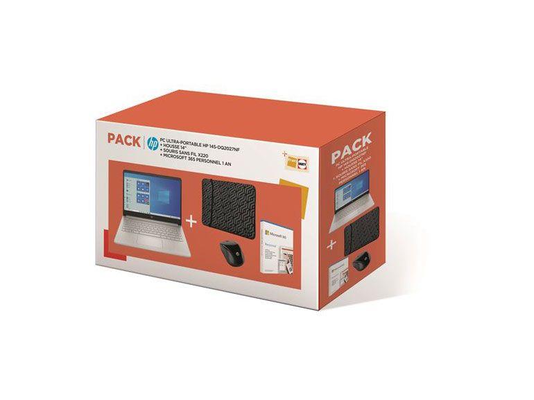 """Soldes : le pack PC HP 14"""" avec housse, souris et Microsoft 365 à 499€"""