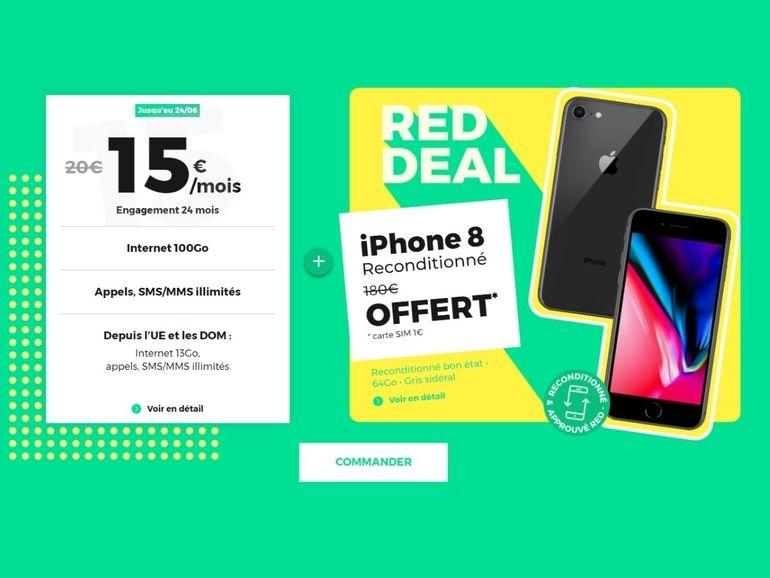 Un iPhone 8 offert avec le forfait 100 Go à 15€ RED by SFR