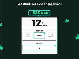 RED by SFR : le forfait BIG RED est en promo à 12€/mois avec 100 Go d'internet