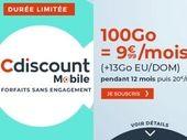Forfait mobile : 100 Go pour 10€ par mois chez Cdiscount Mobile
