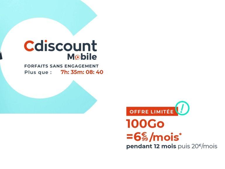 Cdiscount Mobile propose son forfait 100 Go (sans engagement) à 6,99€/mois