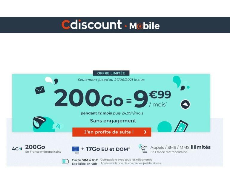 Forfait 200 Go à 10€ : dernières heures avant la fin de la promo de Cdiscount Mobile