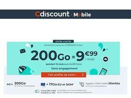 Le forfait Cdiscount Mobile 200 Go sans engagement est à 9,99€/mois pendant 12 mois