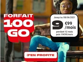Le forfait NRJ Mobile 100 Go à est 9,99€ / mois au lieu de 19,99