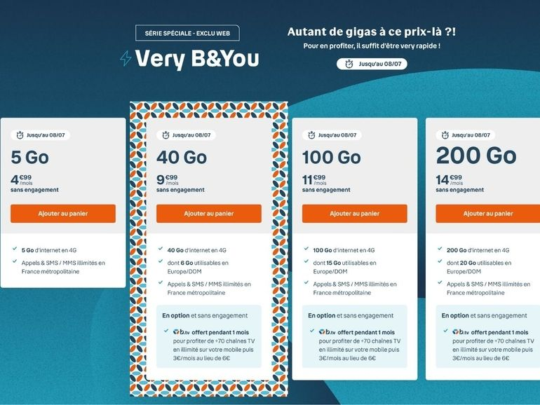 Forfait mobile : B&You contre-attaque, jusqu'à 200 Go à partir de 4,99 euros