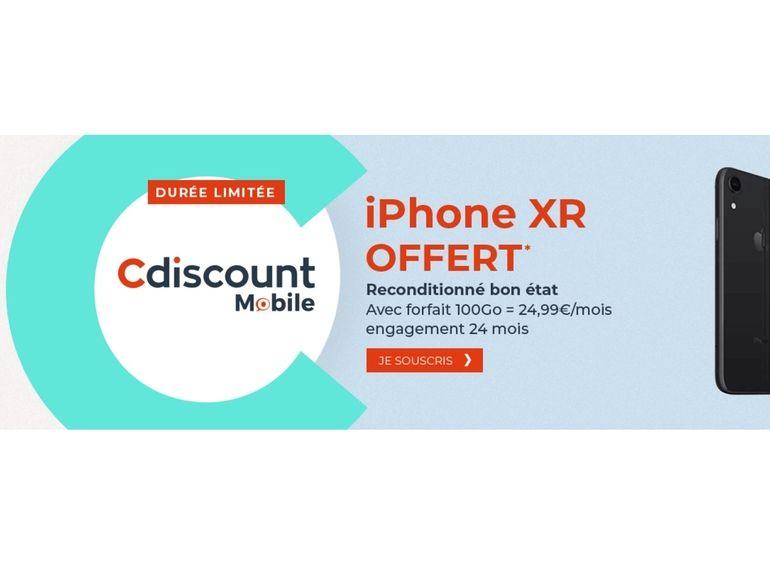 Un iPhone XR reconditionné offert avec le forfait Cdiscount Mobile 100 Go à 24,99 euros par mois