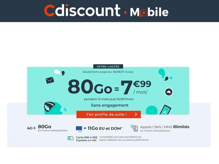 Cdiscount Mobile : le forfait 80 Go est à 7,99€/mois pendant 12 mois