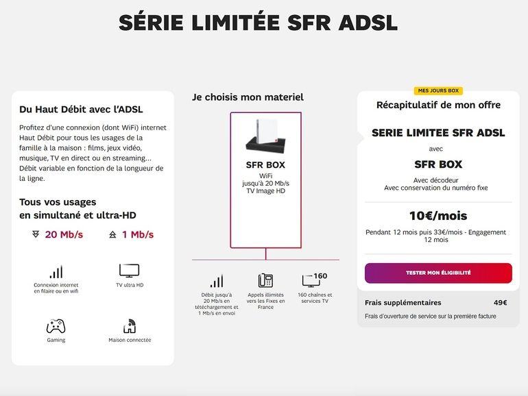 Série limitée SFR Box : le forfait ADSL avec 160 chaînes TV à 10€/mois